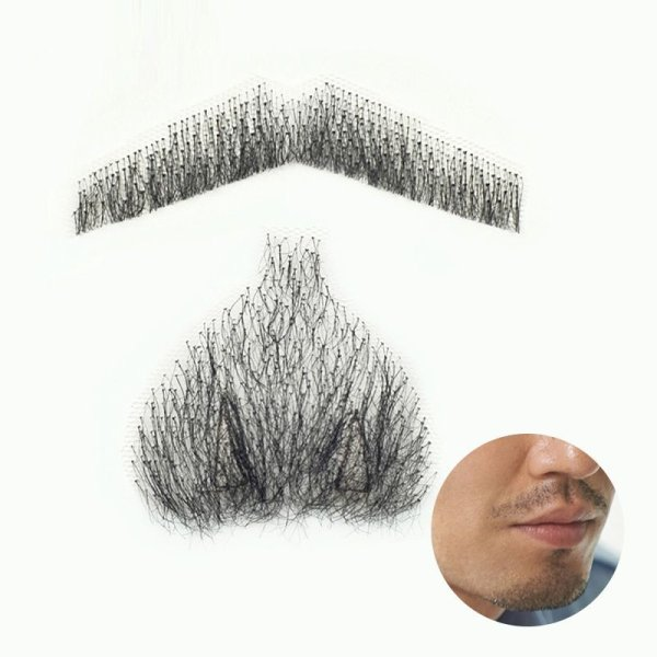 画像1: 付け髭 口ひげ+あごひげのセット 普段使いにもぴったり薄いバージョン 人毛100% つけひげ ひげ あご リアル 本物  (1)