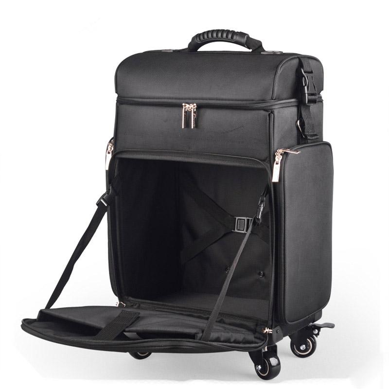 メイクボックス プロ仕様 スーツケース型 コスメボックス キャリーバッグ 大容量 革 美容師バッグ